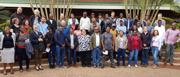 A photo of the Winter School participants with the teachers and hosts from the University of Venda